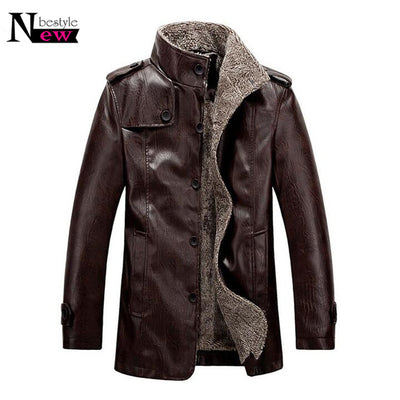 Winter Men Casual Faux Leather Jackets Thermal Overcoat Male Warm Fur Leather Jackets Homie Thickening Brand Bomber Jacket Coats - Dropshipper US