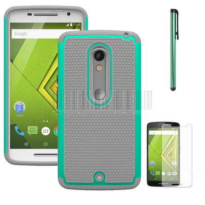Dual Layer PC+Silicone Armor Shockproof Case Cover With Films+Stylus For Motorola Moto X Play XT1562 XT1563/Droid Maxx 2 - Dropshipper US