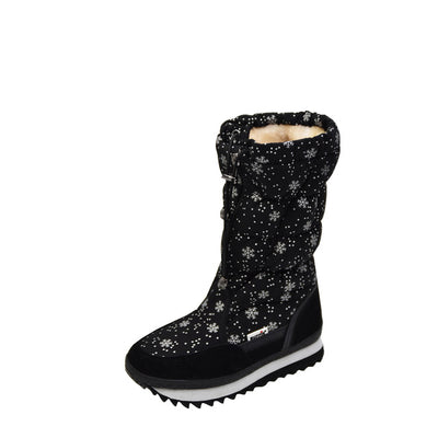 Woman Snow Boots Warm Shoes Plus Size winter ladies snowflakes pattern round toes platform thickening warm cotton boots - Dropshipper US