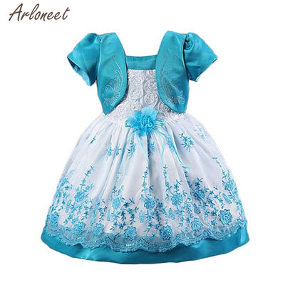 2018 dress baby girl party Short Sleeves Roses Fake Two Piece Princess Dress Party Dresses FEB11