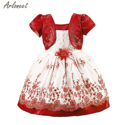 2018 dress baby girl party Short Sleeves Roses Fake Two Piece Princess Dress Party Dresses FEB11 - Dropshipper US