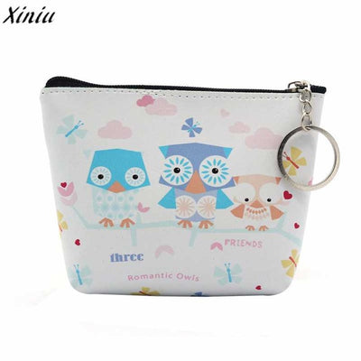 2018 High Quality Cartoon Owl Printed Mini Purse Women Girls Lady PU Leather Mini Coin Purse Female Money Ba Clutch Bag - Dropshipper US