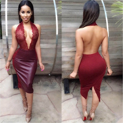 2018 New Arrival, Sexy Women's Dress Pinup Girls Backless Bandage Bodycon Club Dress Vestido de festa PU Leather Robe - Dropshipper US