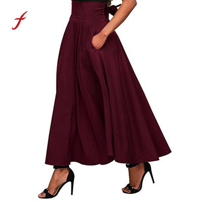 Feitong Women Maxi Long Skirt High Waist Pleated A Line Floor Length Long Skirt Front Slit Belted Femininas Solid Skirt S-XXL