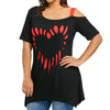 Free Ostrich Women Print Shirt Short Sleeve Casual Shirt Tops Female Plus Size Irregular Off Shoulder Sexy T-shirt C1435