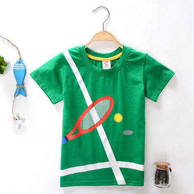 2018  Cartoon tshirt Children Summer 100%Cotton 3D Tennis Pattern T-shirt For Boy Girl Summer Short Sleeve Tee Tops Kids Clothes