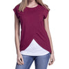 Free Ostrich Tee Shirts 2018 Women's Maternity Nursing Wrap Top Cap Sleeves Layer Tunic Tops T Shirt camiseta feminina C1340