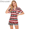 Ekouaer Casual Pajama Sets Women Sleepwear Solid Tops Shorts Set Simple Lounge Summer Pajamas Set Nightwear Suit Female Nighties