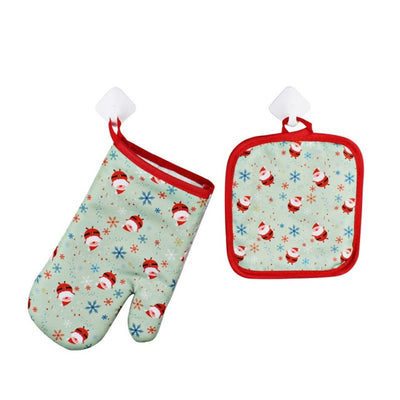 1 Set Christmas Baking Anti-Hot Gloves Oven And Microwave Oven Hot Insulation Mat For Home Xmas Party Decoration Supply