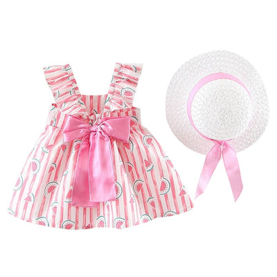 Floral Ruched Bow Watermelon Princess Dress