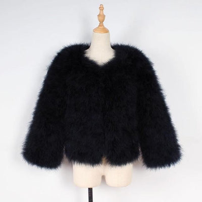 Women Faux Fur Ostrich Feather Soft Coat Jacket Fluffy Winter Xmax Abrigos De Mujer Elegantes Black / S United States Womens