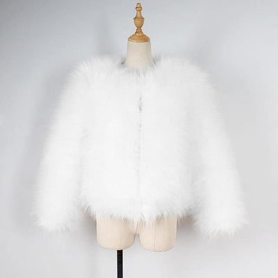 Women Faux Fur Ostrich Feather Soft Coat Jacket Fluffy Winter Xmax Abrigos De Mujer Elegantes White / S United States Womens