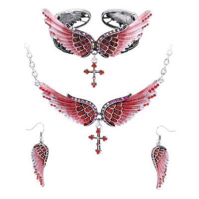 Yacq Angel Wing Cross Necklace Earrings Bracelet Set Women Biker Jewelry Birthday Gifts Her Mom Wife Girlfriend Dropshipping Red / United