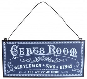 Blue Gents Room Metal Tin Wall Or Door Sign Plaque