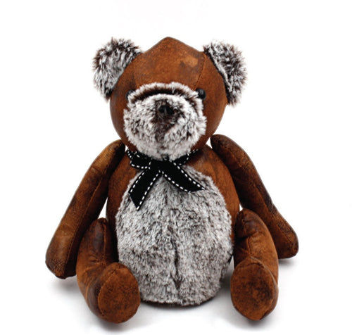 Faux Leather Brown Teddy Bear Doorstop