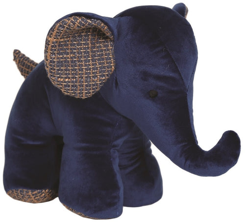 Navy Blue Elephant With Weave Detail Doorstop