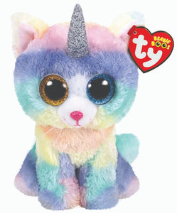 TY Beanie Boo Rainbow Heather Unicorn Kitty Cat Soft Toy Teddy