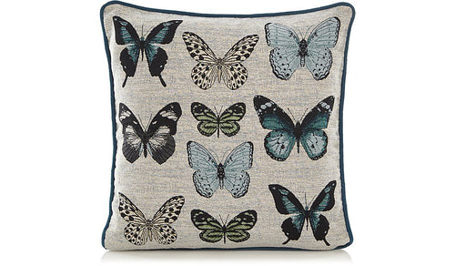 Teal Blue Tapestry Butterfly Cushion