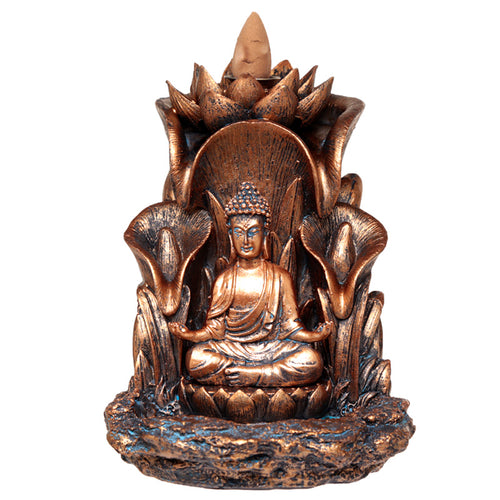 Thai Buddha With Lotus Flower Bronze Effect Backflow Incense Burner