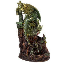 Green Fantasy Dragon On Castle Led Backflow Incense Burner
