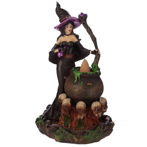 Gothic Witch Cauldron With Skulls Backflow Incense Burner