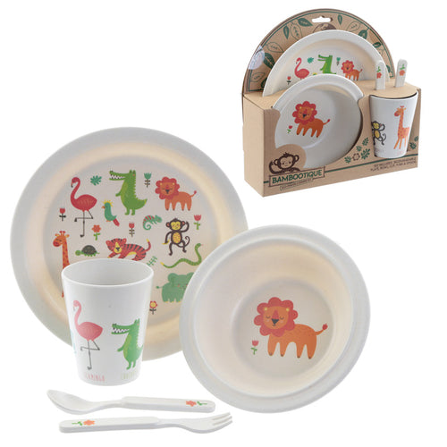 Jungle Animal Print Eco Friendly Bamboo Kids Dining Set