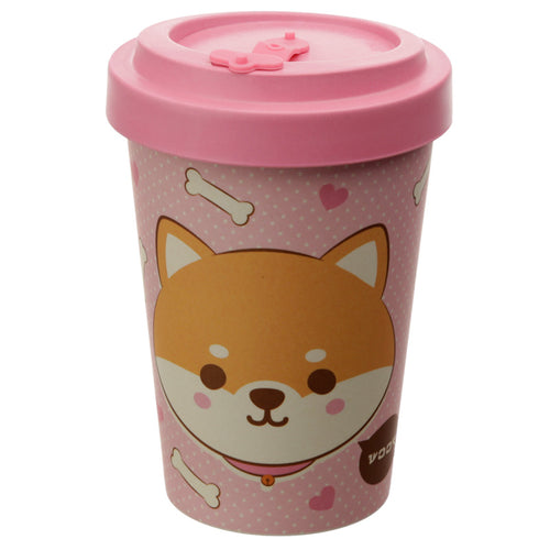 Pink Kawaii Cat Print Eco Friendly Bamboo Kids Or Adults Travel Mug Cup