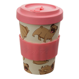 Pink Pug Dog Breed Print Eco Friendly Bamboo Kids Or Adults Travel Mug Cup