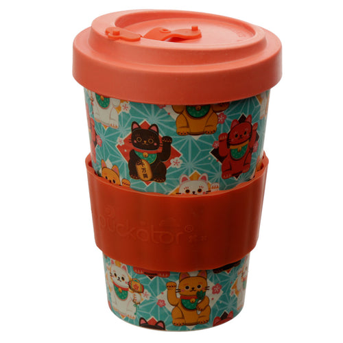 Lucky Chinese Waving Cat Print Eco Friendly Bamboo Kids Or Adults Travel Mug Cup