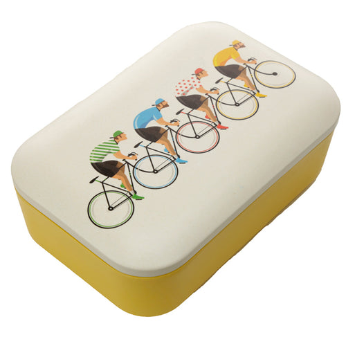 Yellow Cycling Bicycle Print Eco Friendly Bamboo Lunch Box