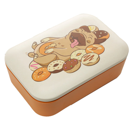 Pug Dog Eating Doughnuts Print Eco Friendly Bamboo Lunch Box