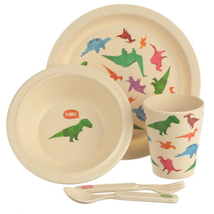 Multi Colour Dinosaur Print Eco Friendly Bamboo Kids Dining Set