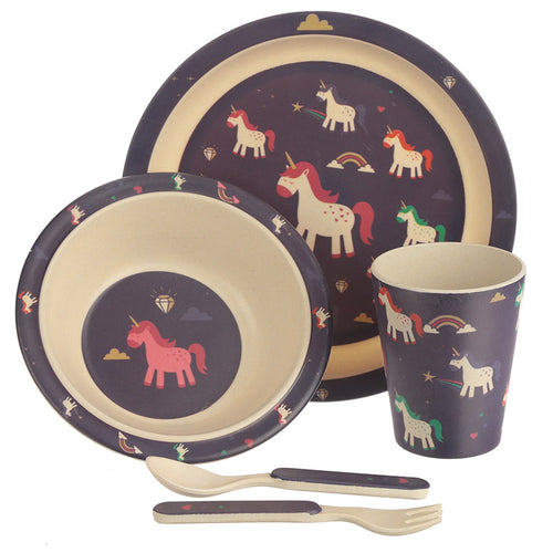 Purple Unicorn Print Eco Friendly Bamboo Kids Dining Set