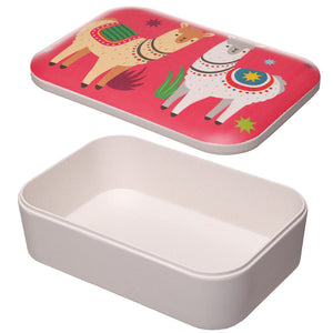 Pink Llama Print Eco Friendly Bamboo Lunch Box