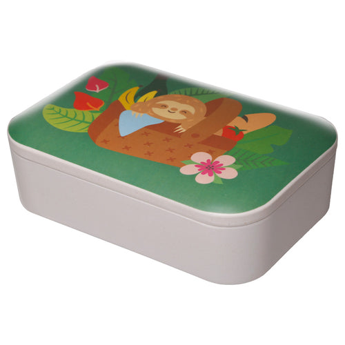 Green Sloth Animal Bird Print Eco Friendly Bamboo Lunch Box