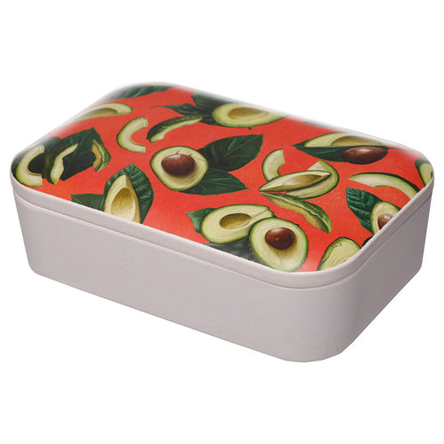 Green Avocado Fruit Print Eco Friendly Bamboo Lunch Box