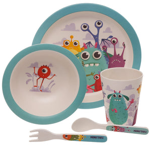 Multi Colour Monster Print Eco Friendly Bamboo Kids Dining Set
