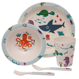 Multi Colour Sea Life Shark Print Eco Friendly Bamboo Kids Dining Set