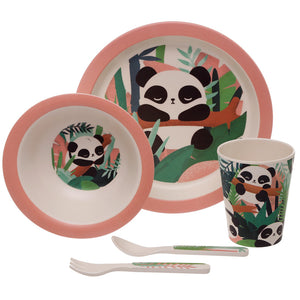 Pink Panda Bear Print Eco Friendly Bamboo Kids Dining Set