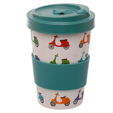 Multi Colour Scooter Vespa Print Eco Friendly Bamboo Travel Mug Cup