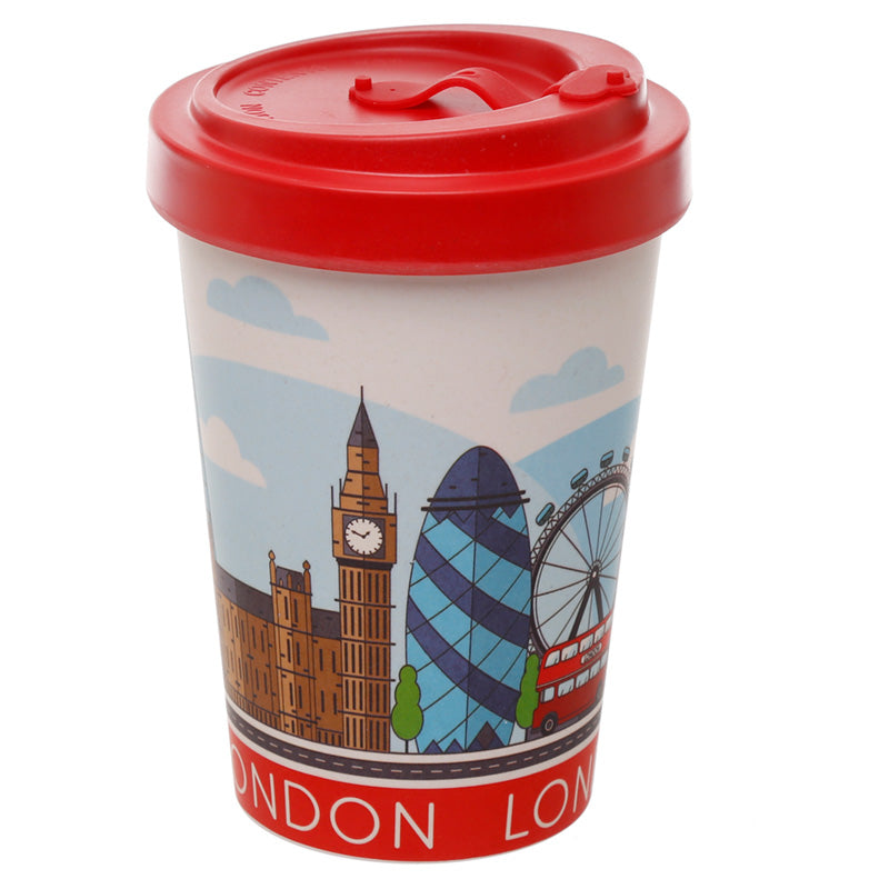 Red London Landmarks Souvenir Print Eco Friendly Bamboo Travel Mug Cup