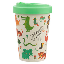 Green Dinosaur & Animal Print Eco Friendly Bamboo Kids Or Adults Travel Mug Cup