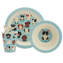 Blue Dog Breed Print Eco Friendly Bamboo Kids Dining Set