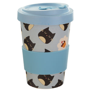 Blue Kawaii Cat Print Eco Friendly Bamboo Kids Or Adults Travel Mug Cup