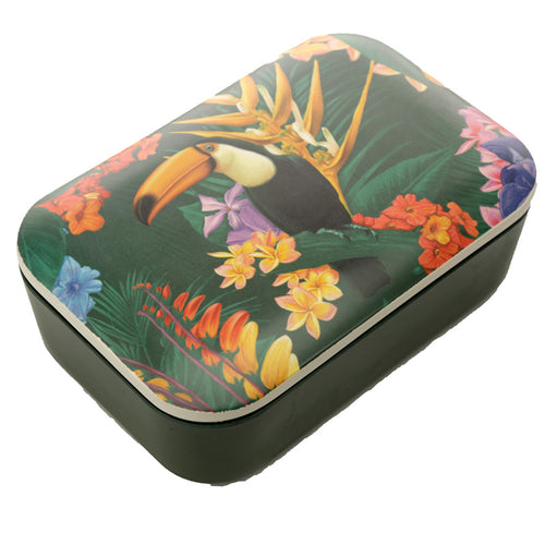 Green Tropical Toucan Bird Print Eco Friendly Bamboo Lunch Box
