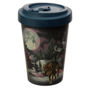 Blue Wolf & Moon Fantasy Print Eco Friendly Bamboo Travel Mug Cup