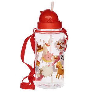Farm Animal Horse Print Water Drinking Bottle With Flip Top Straw & Strap
