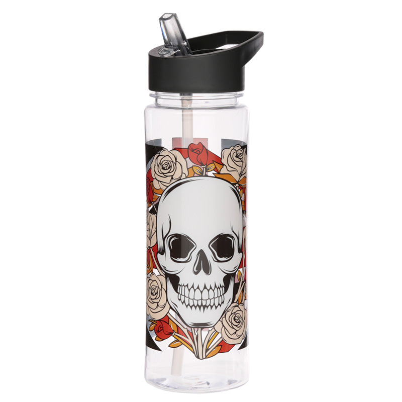 Gothic Skull Rose Print Water Drinking Bottle With Straw 550ml