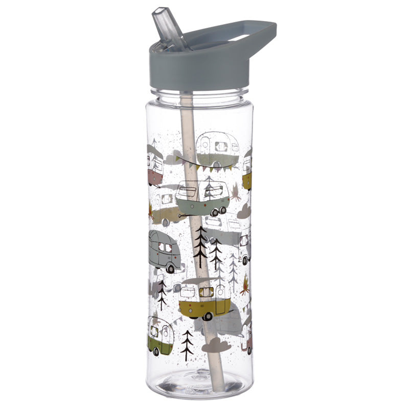 Camper Van & Caravan Print Water Drinking Bottle With Straw 550ml