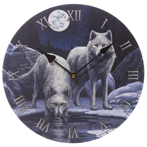Wooden Fantasy Wolf & Moon Picture Print Wall Clock